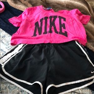 Nike workout outfit pink crop black running shorts